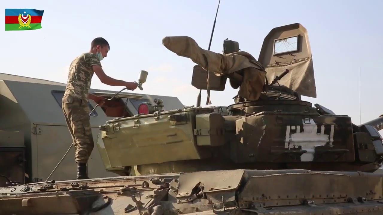 Azerbaycan ele geçirdiği Ermeni tankların boyayıp kullanıyor - YouTube