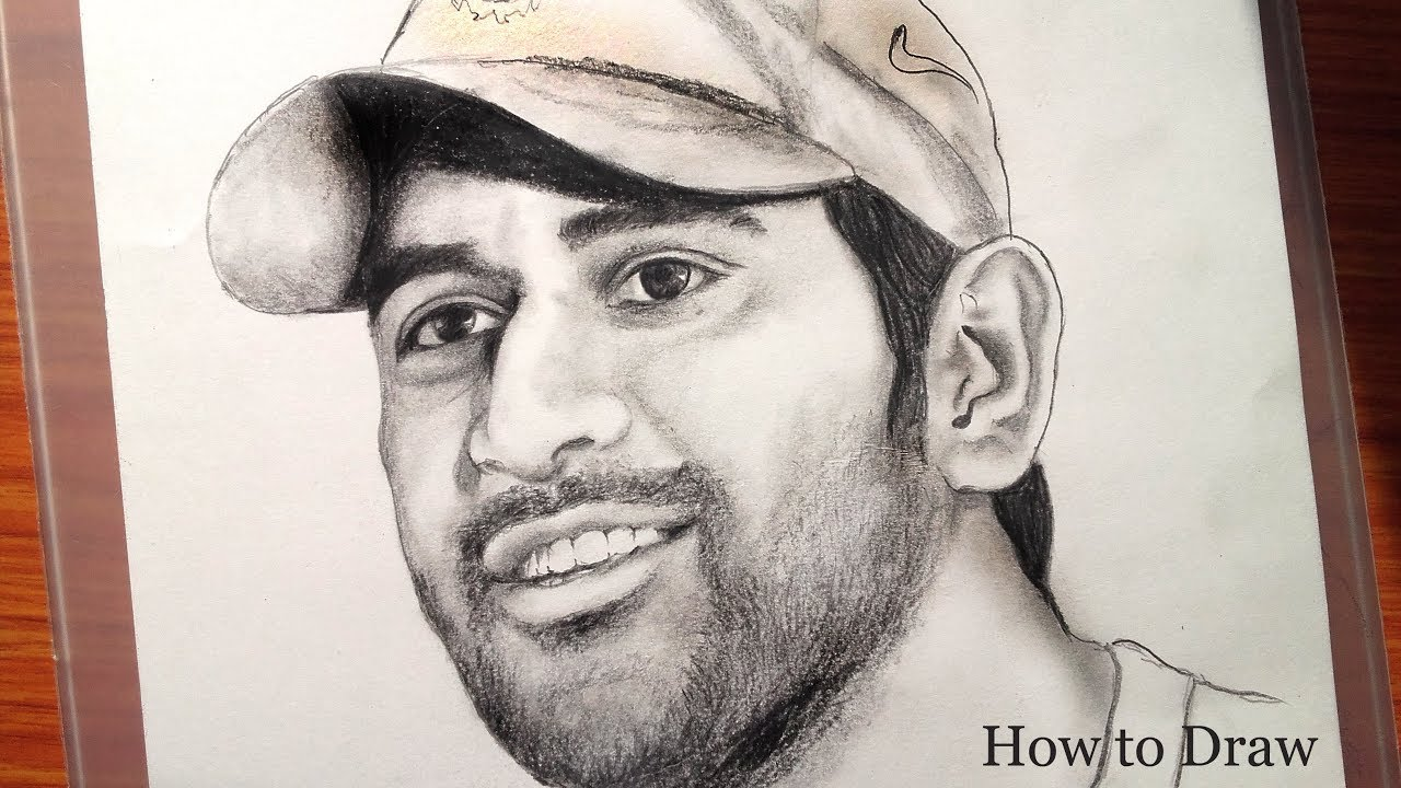 Drawing ms dhoni is an indian international cricketer very easy steps for beginners banglar art