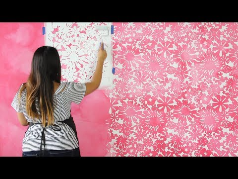 How to Stencil a DIY Watercolor Mural - Painting a Pink Flower Wallpaper Design with Wall Stencils
