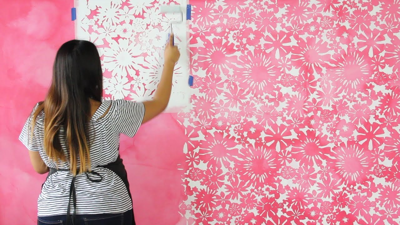 How To Stencil A Diy Watercolor Mural Painting A Pink Flower Wallpaper Design With Wall Stencils