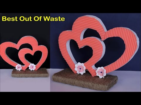 Best Out Of Waste Idea || DIY Heart Shaped Showpiece at Home || Handmade Craft Idea