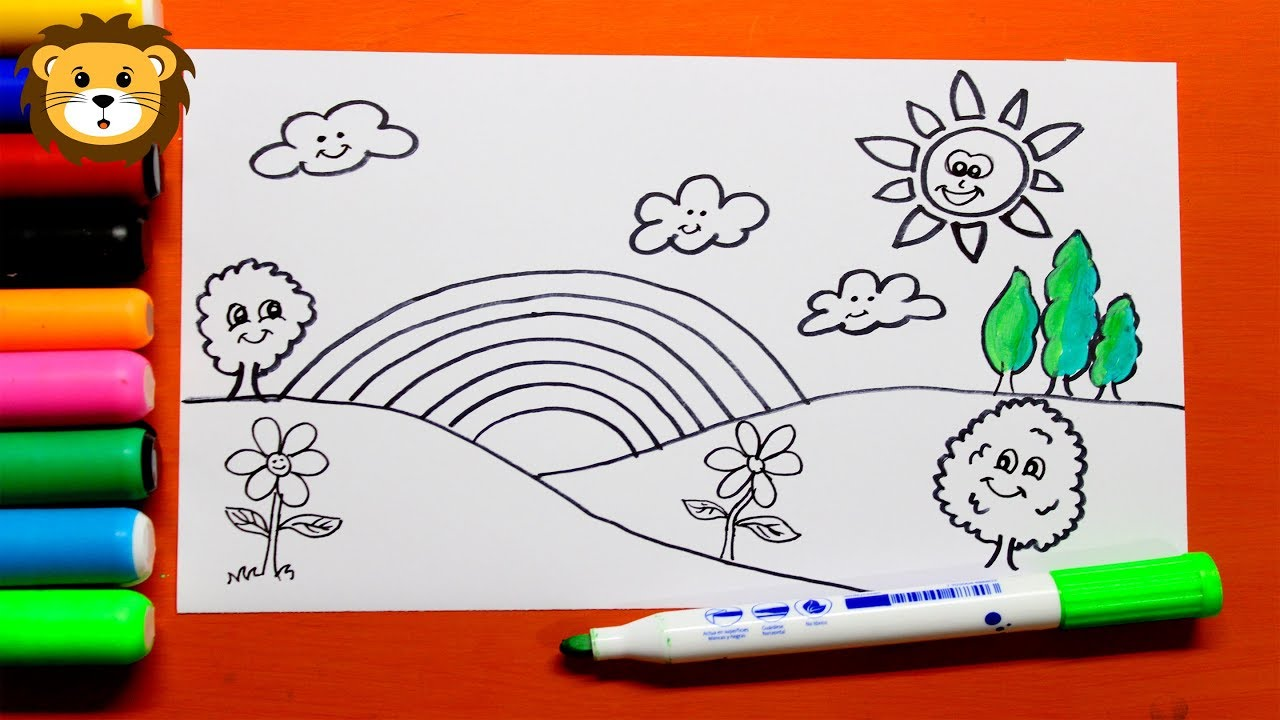 Como Dibujar Paisajes Arco Iris Dibujos Para Niños Draw And Coloring Book For Kids