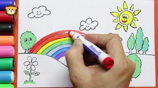 Como Dibujar Paisajes - Arco Iris -  Dibujos para niños - Draw and Coloring Book for Kids
