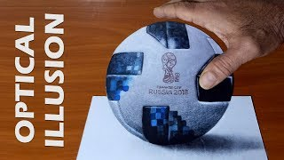 3D drawing : FIFA World Cup 2018 Ball, Easy way to draw 3D illusion on paper
