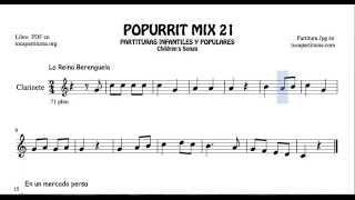 21 de 30 Popurrí Mix Partituras Populares Infantiles de Clarinete La Reina Berenguela