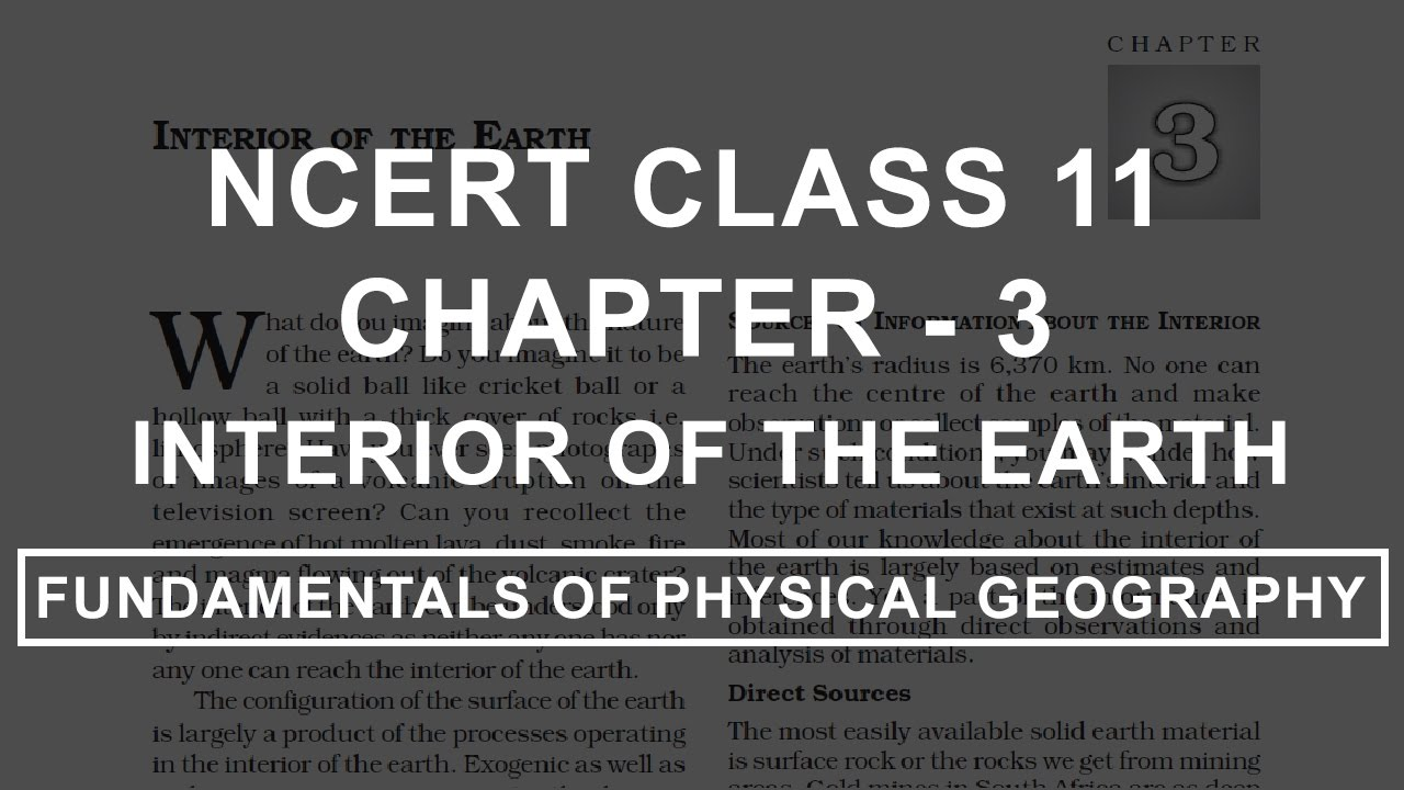 Interior of the Earth Chapter 3 Geography NCERT Class 11 YouTube