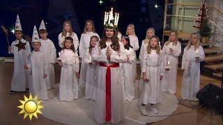 Luciakören sjunger Nu tändas tusen juleljus - Nyhetsmorgon (TV4)