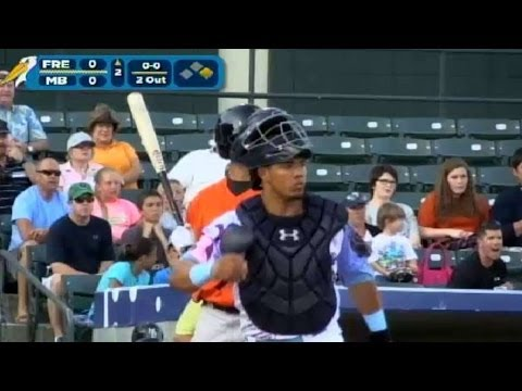 Jorge Alfaro makes a pickoff for the Pelicans