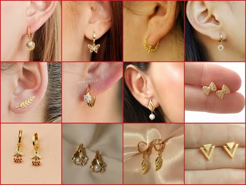 Latest and stylish light weight gold earrings design/simple daily wear gold earring design/jewellery