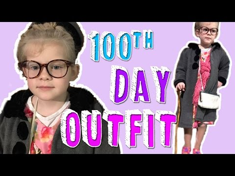 DRESS LIKE AN OLD PERSON FOR THE 100TH DAY OF SCHOOL - Growing Daily | Family Daily Vlog
