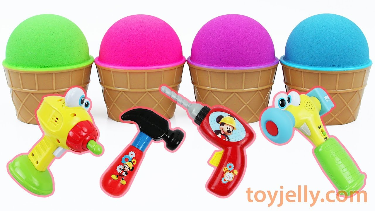 Kinetic Sand Ice Cream Cup Kinder Joy Surprise Egg Mickey Mouse Tool Baby Toys Kids Nursery Rhymes
