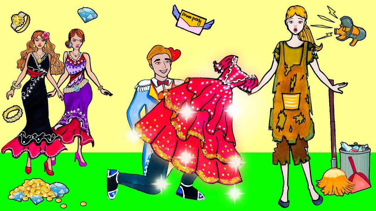 DIY Paper Dress Up - Costume Cinderella Party Dress Handmade - Beauty Paper Dolls