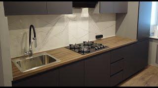 Кухня прямая 3м Эмаль серый матовый