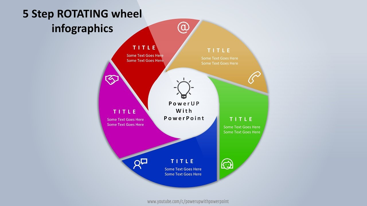 6 create 5 steps rotating wheel infographic powerpoint