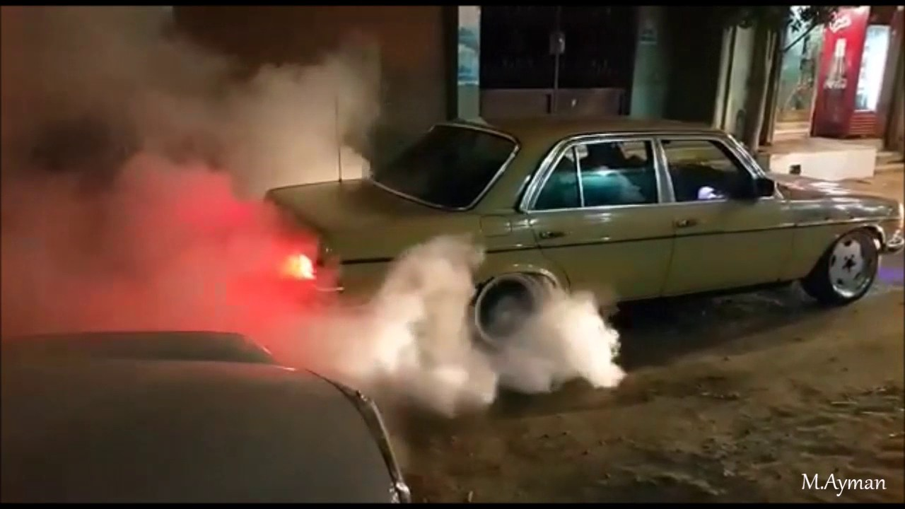Mercedes W123 Amg Burningout In Mansoura Youtube