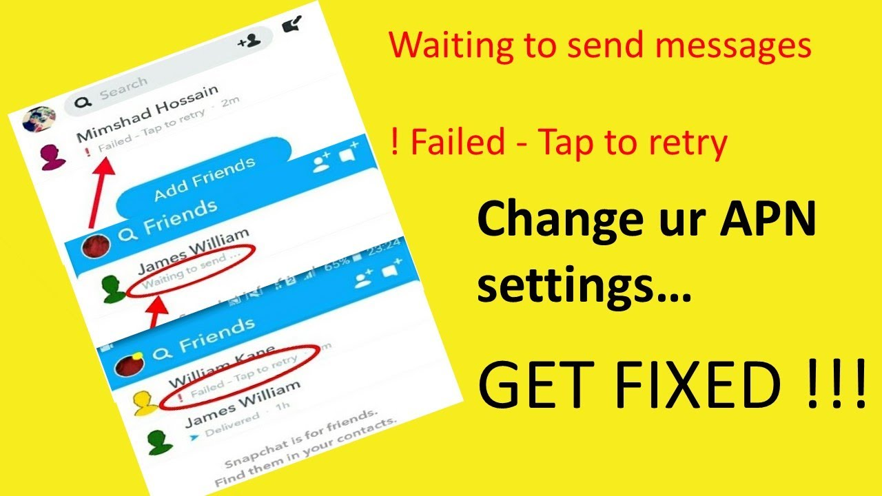 Failed To Send Tap To Retry 2020 Change Apn Fixing Snapchat Message Not Sending Problem Youtube