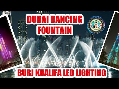Dubai Fountain and Burj Khalifa Led Lighting. . @The Dubai Mall
