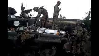 Подбитый российский танк Т 72бз. с Червоносiльське 29,08,2014г