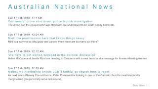National News Headlines for 17 Feb 2019 - 8 AM Edition