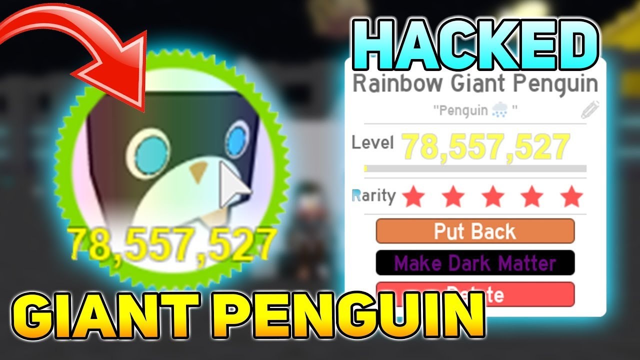Roblox Pet Simulator Giant Penguin Stats Dark Matter Rainbow Giant Penguin Hacked Pet Simulator Youtube