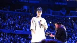 Justin Bieber - Sorry Acoustic Forgets Lyrics, Asks Fans & Trips - An Evening With Justin Bieber Third Show Staples