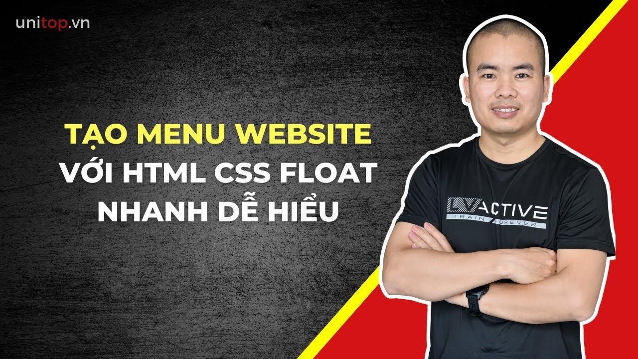Hướng dẫn Tạo MENU website với Html Css nhanh chóng - Học html css | Unitop.vn