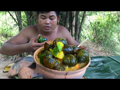 ARS Primitive Cooking Snail Curry Soup – Cook Curry Snail soup eating Delicious