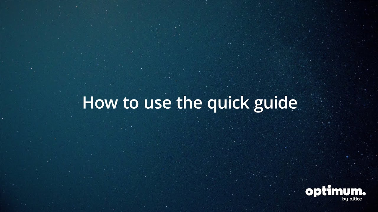 Altice One: How To Use The Quick Guide