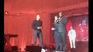 Diddy Watches David Blaine Do A Card Illusion with Arod