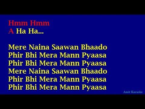 Mere Naina - Kishore Kumar Hindi Full Karaoke with Lyrics