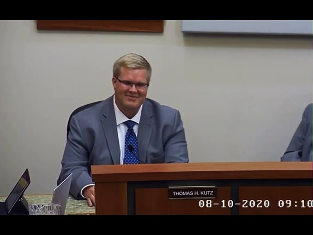 Kutz Gives Commissioner's Report Aug 10, 2020