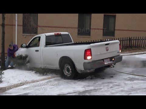 Raleigh, NC Winter Storm & Icy Roads & Crash 1/7/2017