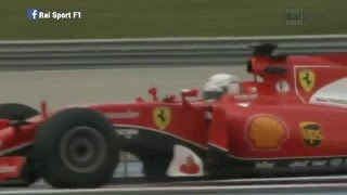 Sebastian Vettel spins as he pushes his car to the limit