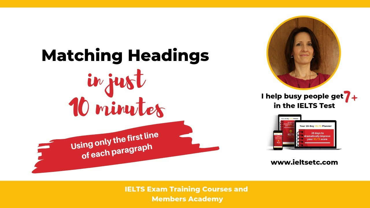IELTS Reading: How to match headings using first lines
