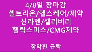 [주식투자]4/8일 장마감(셀트리온/헬스케어/제약/신라…