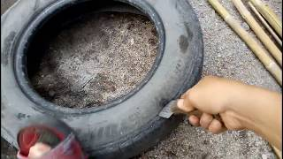 HOW TO CUT AN UNUSED TIRE IN EASY WAY
