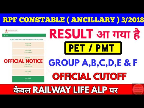 RPF Constable ( Ancillary ) 2019 CUTOFF  Official & Result Group A - F