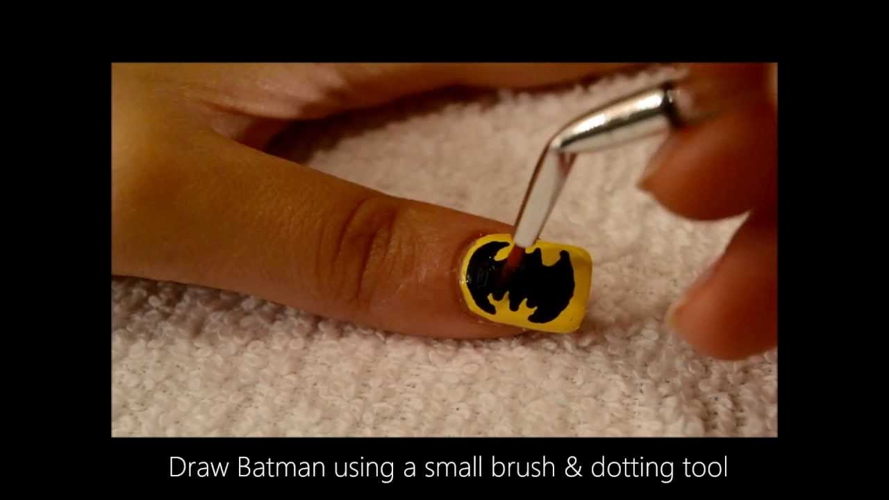 Easy Batman Nail Art Tutorial - Easy Batman Nail Art Tutorial - YouTube