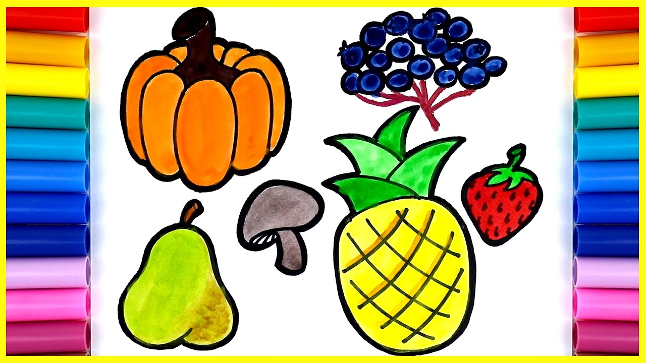 Easy Drawing For Kids How To Draw Fruits Vegetables Pumpkin Pear