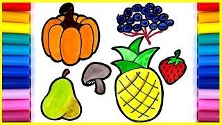 fruits vegetables drawing easy draw drawings pumpkin kid paintingvalley getdrawings pineapple pear