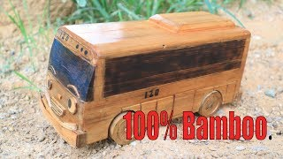 """How To Make Miniature Minibus  """"Tayo """" From Bamboo."""