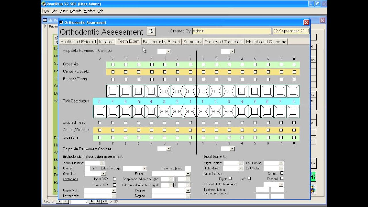 Pearl Dental Software - Clinical - Orthodontic Assessment