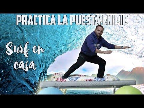 Videotutorial de surf - Practica de la puesta en pie desde casa