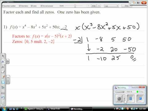 Using Synthetic Division to Factor.wmv