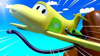 Поезд для детей -  Самолёт Пенни спасает вертолёт Гектор! - Поезд Трой в Автомобильном Городе