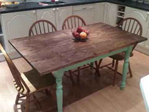 shabby chic farmhouse kitchen table.wmv