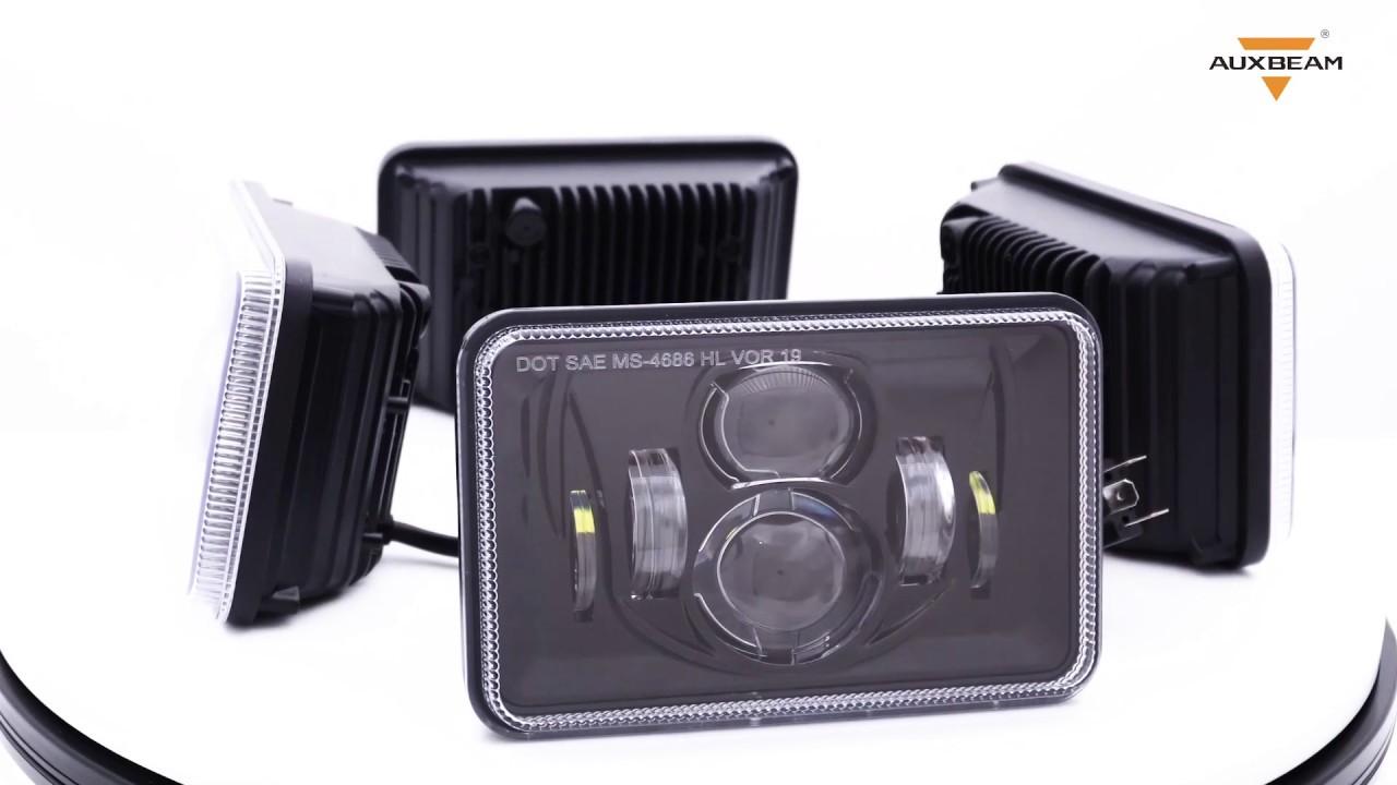 4X6 Inch 55W Square Sealed Hi-Lo Beam LED Headlight  (Black, 4pcs/set)