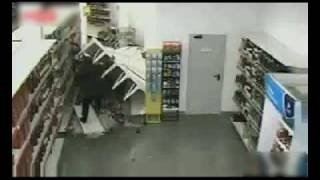 Lady Tips Over Leaning Shelf