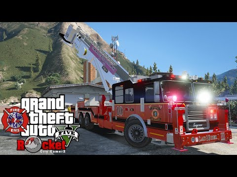 New Fire Dept. Ladder Truck! EMS/Fire Rescue   GTA 5 LSPDFR (Agency Callouts and Firefighter Mod)
