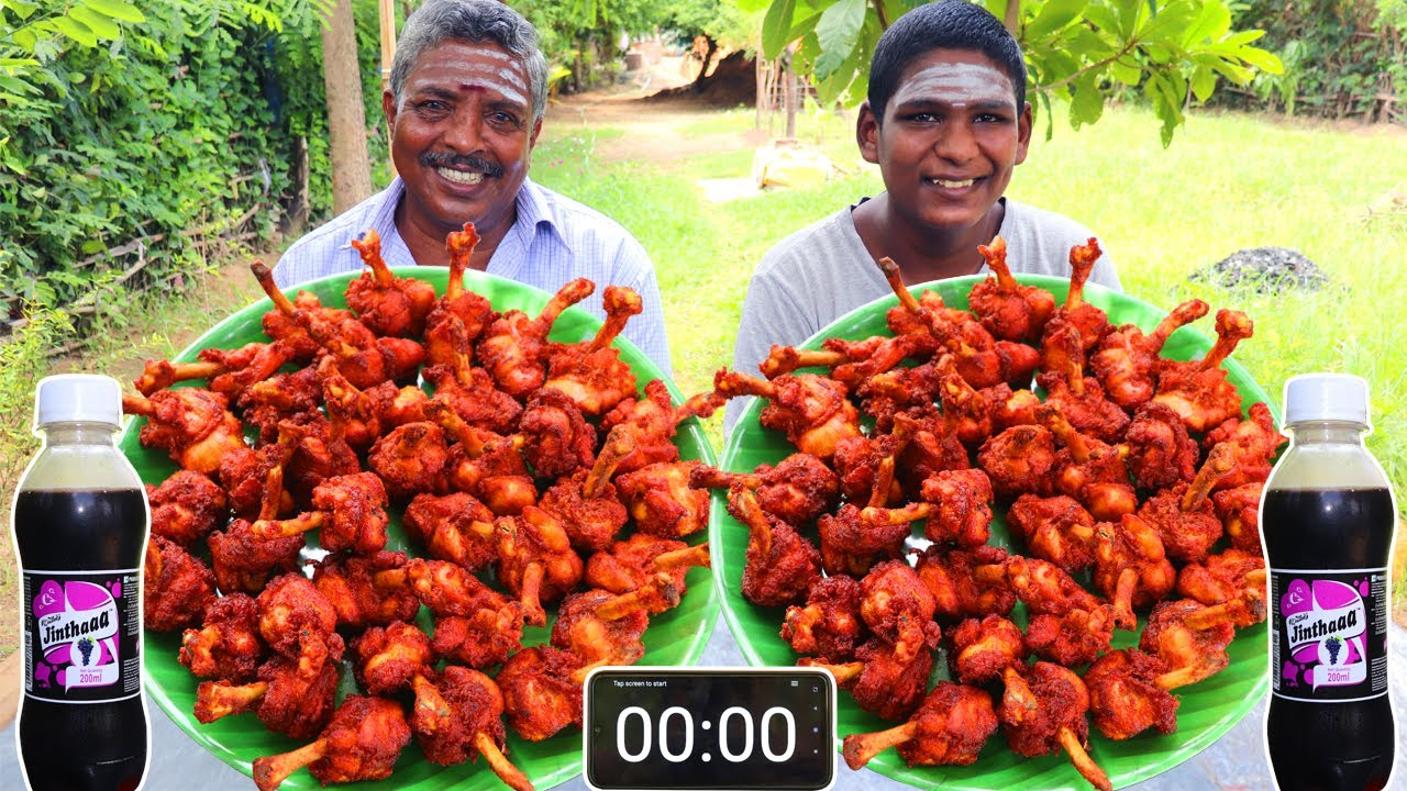 40 CHICKEN LOLLIPOP EATING CHALLENGE | CHICKEN LOLLIPOP EATING COMPETITION | FARMER COOKING